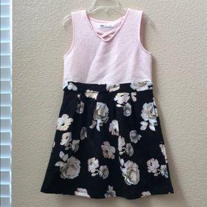 Pink and Black Floral Girls Dress